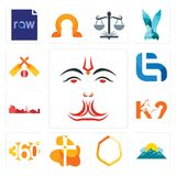 Set of anjaneya, mountain, crest, church, 360 degree, k9, leipzig hd, lg, cricket icons. Set Of 13 simple  icons such as anjaneya, mountain, crest, church, 360 Royalty Free Stock Photo