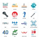 Set of 30 anniversary, breast cancer, 40 years, nano, nerd, sea horse, shoe print, judicial, hotel icons. Set Of 16 simple  icons such as 30 anniversary, breast Stock Images