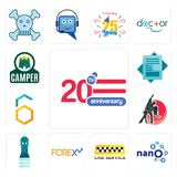 Set of 20 anniversary, nano, cab service, , girls bathroom, dance studio, hex, statement, camper icons. Set Of 13 simple  icons such as 20 anniversary, nano, cab Royalty Free Stock Photos
