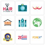 Set Of 9 simple  icons such as, 20 anniversary, volleyball tournament. Set Of 9 simple  icons such as 20 anniversary, volleyball tournament, moose, educational Stock Image