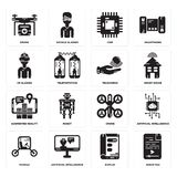 Set of Audio file, Display, Vehicle, Drone, Augmented reality, Telekinesis, Vr glasses, Chip, Drone icons. Set Of 16 simple  icons such as Audio file, Display Stock Images