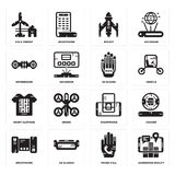 Set of Augmented reality, Phone call, Smartphone, Smart clothing, Wi gloves, Hoverboard, Rocket, Eolic energy icons. Set Of 16 simple  icons such as Augmented Stock Images