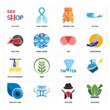 Set of ayurvedic, outlaws, contact lens, twister, 75th anniversary, ass, wild hog, orange lion, sex shop icons. Set Of 16 simple  icons such as ayurvedic Stock Image