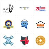 Set Of 9 simple  icons such as bagel, boxing club, skull and crossbones. Lodging, helpdesk, volleyball tournament, 20 anniversary, unemployment, black swan Stock Photography