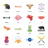 Set of baseball team, disk, number 8, olive, , bull, dumbbell, cow head, eagle head icons. Set Of 16 simple  icons such as baseball team, disk, , number 8, black Royalty Free Stock Image