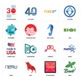 Set of basil, placeholder, nerd, lesbian, made in usa, sea horse, statement, , 30 anniversary icons. Set Of 16 simple  icons such as basil, placeholder, bull Royalty Free Stock Photo