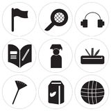Set Of 9 simple  icons. Such as Basketball, Milk, Pom pom, Pencil case, Graduate, Homework, Headphones, Language, Flag, can be used for mobile, web UI Stock Images