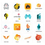 Set of bear head, rising, angel wings, ok, nursing, wing, , flammable, icons. Set Of 16 simple  icons such as bear head, rising, trolley, angel wings, shipping Stock Images