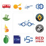 Set of bike, spoon on its, hsc, raw file, grenade, usmc, 1 year warranty, renault, ayurvedic icons. Set Of 13 simple  icons such as bike, spoon on its, hsc, raw Stock Images