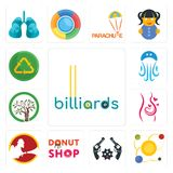 Set of billiards, solar system, revolver, donut shop, , pregnancy, olive tree, jellyfish, recycle reuse uce icons. Set Of 13 simple  icons such as billiards Royalty Free Stock Photography