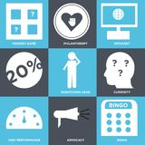 Set Of 9 simple  icons. Such as bingo, advocacy, high performance, curiosity, scratching head, intranet, philanthropy, memory game, can be used for mobile, web Stock Images