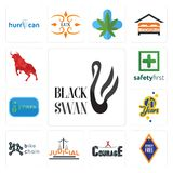 Set of black swan, , courage, judicial, bike chain, 70 years, 20 year, safety first, bull icons. Set Of 13 simple  icons such as black swan, , courage, judicial Stock Photography