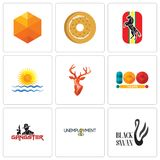 Set Of 9 simple  icons such as black swan, unemployment, gangster. 100 year, stag head, rising sun, horse, bagel, cubic, can be used for mobile, web Stock Images