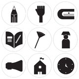 Set Of 9 simple  icons. Such as Blackboard eraser, High school, Loudspeaker, Graduate, Pom pom, Homework, Sharpener, Hands, Literature, can be used for mobile Royalty Free Stock Images