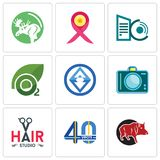 Set Of 9 simple  icons such as boar, 40 years, hair studio. Dslr, 3, oxygen, datacenter, breast cancer ribbon, moose, can be used for mobile, web Stock Image