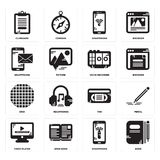 Set of Book, Smartphone, Video player, Vhs, Grid, Voice recorder, Clipboard icons. Set Of 16 simple  icons such as Book, Smartphone, Open book, Video player Stock Images