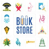Set of book store, ever tree, gamer, flame, weed leaf, billiard, knight head, pregnancy, jellyfish icons. Set Of 13 simple  icons such as book store, ever tree Stock Images