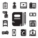 Set of Book, Video call, Phone book, Smartphone, Projector, Browser, Mailbox, Link, User icons. Set Of 13 simple  icons such as Book, Video call, Phone book Stock Images