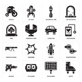 Set of Boots, Solar panel, Blaster, Rocket, Google glasses, Flying car, Tree, Mechanical arm, Vehicle icons. Set Of 16 simple  icons such as Boots, Solar panel Stock Photo