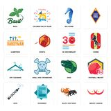 Set of breast cancer, black panthers, vape, dino, dry cleaning, 30 anniversary, handyman, sea horse, basil icons. Set Of 16 simple  icons such as breast cancer Stock Photography