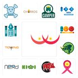 Set of breast cancer, cancer ribbon, boar, kiwi, nerd, rhino, towing, 100 year, educational institute icons. Set Of 13 simple  icons such as breast cancer Stock Photography