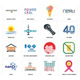 Set of breast cancer ribbon, hotel, nano, canadian leaf, lodging, shoe print, rising sun, icecream, unemployment icons. Set Of 16 simple  icons such as breast Stock Images