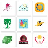 Set Of 9 simple  icons such as breastfeeding, 2 years warranty, stevia. Gryphon, pinwheel, saudi palm, teamspirit, moutain, parlour, can be used for mobile Stock Photos