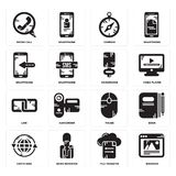 Set of Browser, File transfer, Earth grid, Mouse, Link, Microphone, Smartphone, Compass, Phone call icons. Set Of 16 simple  icons such as Browser, File transfer Stock Images