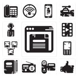 Set of Browser, Like, Camcorder, Radio, Book, Mobile phone, Network, Video player, News reporter icons. Set Of 13 simple  icons such as Browser, Like, Camcorder Royalty Free Stock Images