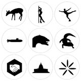 Set Of 9 simple  icons. Such as buffering, capitol building, folded hands, gecko, dragon head, submarine, figure skater, stripper, fawn, can be used for mobile Stock Image