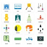 Set of buffering, earthquake, inquiry, dab, travel agent, next steps, fire hydrant, shotgun, municipal icons. Set Of 16 simple  icons such as buffering Royalty Free Stock Photo
