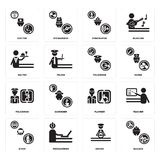 Set of Builder, Driver, Diver, Plumber, Policeman, Waiter, Firefighter, Doctor icons. Set Of 16 simple  icons such as Builder, Driver, Programmer, Diver, Teacher Royalty Free Stock Image