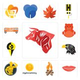 Set of bull, lip, bonfire, cryptocurrency, muscle man, eagle head, , cute bear, icons. Set Of 13 simple  icons such as bull, lip, bonfire, cryptocurrency, muscle Stock Image