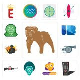 Set of bulldog, tv remote, 3rd anniversary, baboon, gun shop, turbo, outlaw, ib letter, pharmacy icons. Set Of 13 simple  icons such as bulldog, tv remote, 3rd Royalty Free Stock Photography