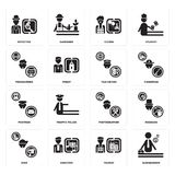 Set of Businessman, Tourist, Dyer, Photographer, Postman, Taxi driver, Programmer, Clown, Detective icons. Set Of 16 simple  icons such as Businessman, Tourist Royalty Free Stock Photography