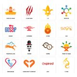 Set of c fire, expi, orphanage, cofee, mountain lion, o gossip, lis, cinco de mayo icons. Set Of 16 simple  icons such as c fire, expi, handicraft company Royalty Free Stock Photos