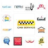 Set of cab service, 70 years, breast cancer, placeholder, helpdesk, lodging, , courage, celebrating 25 years icons. Set Of 13 simple  icons such as cab service Stock Photography