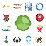 Set of cabbage, coffe, jellyfish, revolver, military, chili pepper, gavel, cancel, butcher shop icons. Set Of 13 simple  icons such as cabbage, coffe, jellyfish Royalty Free Stock Photos