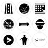 Set Of 9 simple  icons. Such as call now, obesity, plug and play, augmented reality, peace of mind, gmo free, scratch card, odor, , can be used for mobile, web Stock Photos