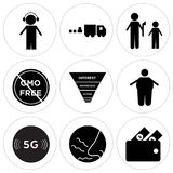 Set Of 9 simple  icons. Such as cashback, odor, 5g, obesity, marketing funnel on white background, in black,, gmo free, execution, commodities, dispatch, can be Royalty Free Stock Image