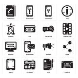 Set of Cassette, File, Tablet, Protest, Monitor, Projector, Antenna, Smartphone, Phone book icons. Set Of 16 simple  icons such as Cassette, File, Calendar Royalty Free Stock Photos