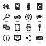 Set of Cassette, Share, Info, Smartphone, Chat, Wifi, Search, Pendrive, Film reel icons. Set Of 16 simple  icons such as Cassette, Share, Monitor, Info Royalty Free Stock Photo