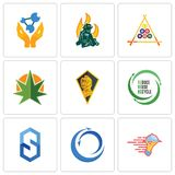 Set Of 9 simple  icons such as catering services, import export, s hexagon. Uce reuse recycle, knight head, weed leaf, billiard, firemen, chemist, can be used Stock Images