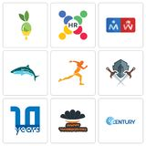 Set Of 9 simple  icons such as century, happy thanksgiving, 10 year. Shield and sword, running club, restroom, human resources, olive oil, can be used for Stock Photography