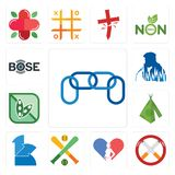 Set of chainlink, non smoking, gynecologist, fantasy baseball, 111, teepee, soy free, beatbox, bose icons. Set Of 13 simple  icons such as chainlink, non smoking Stock Photography