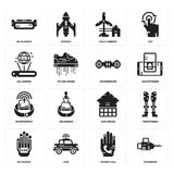 Set of Chainsaw, Phone call, Wi gloves, Eco house, Smartwatch, Hoverboard, Hologram, Eolic energy, Ar glasses icons. Set Of 16 simple  icons such as Chainsaw Stock Photo