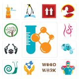 Set of chemical company, surgeon, woodwork, chemist, snails, elephant head, revolver, pregnancy, olive tree icons. Set Of 13 simple  icons such as chemical Royalty Free Stock Images