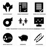 Set Of 9 simple  icons. Such as cholesterol, hedgehog, water resistant, dashboard images, family transparent icion on white background, in black,, turbo, terms Royalty Free Stock Photography