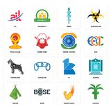Set of church, superpower, teepee, 111, schnauzer, ashok chakra, pizza place, mbbs, ail icons. Set Of 16 simple  icons such as church, superpower, bose, teepee Stock Photos
