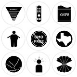 Set Of 9 simple  icons. Such as clam, frustration, odor, state of Texas, gmo free, obesity, bag of chips, tv remote, marketing funnel, can be used for mobile Stock Photos